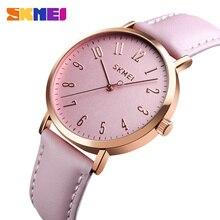 SKMEI Fashion Women Watches Leather Strap Wristband Female 3bar Waterproof Quartz Watch Ladies Wristwatch relogio feminino 1463