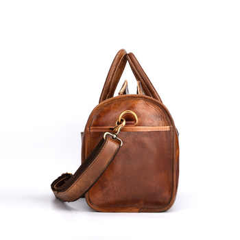 Free Shipping Hand Luggage Unisex Travel Bag Carry Packing Men Vintage Bag 2019 Men Duffel Genuine Cow Leather Handbag LY48