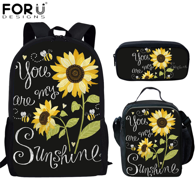 FORUDESIGNS You Are My Sunshine Design School Bags Sunflower Print 3pcs/set Schoolbags For Child Girls Bookbag Leisure Daypacks