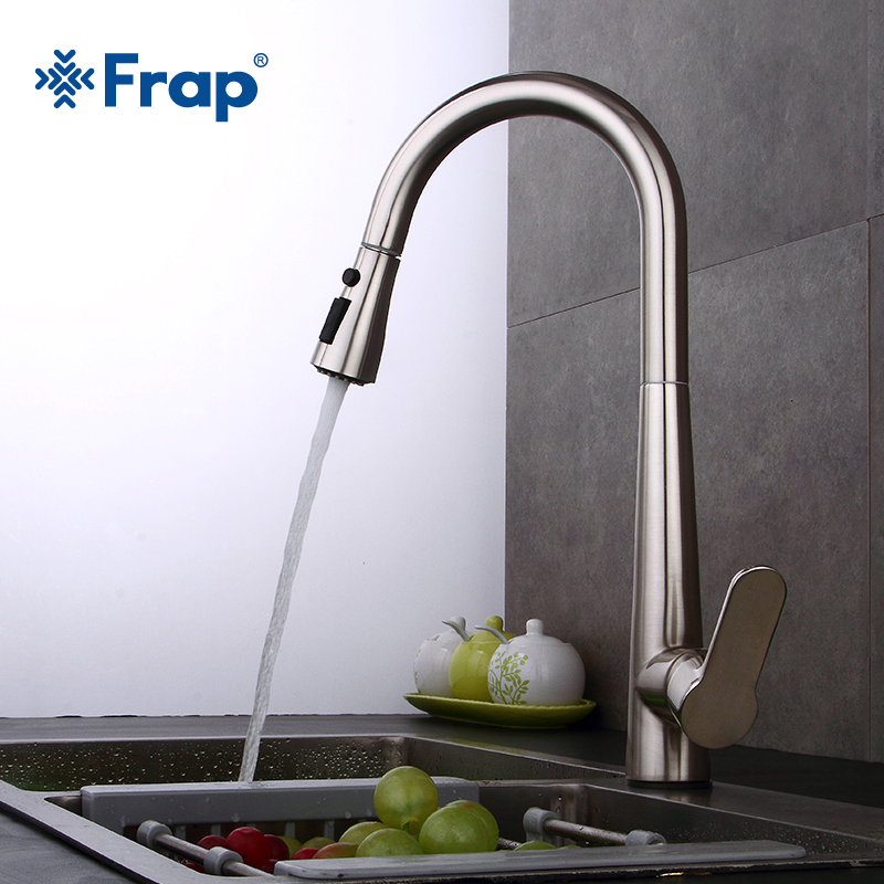 Frap 1 Set Kitchen Faucet Pull Out Water Mixer Taps Sink Mixer Tap Swivel Spout Sink Faucet Swivel Kitchen Faucets Tap Y40062 frap kitchen faucets pull out shower sprayer deck mount sink vessel kitchen sink faucet dual spout for kitchen mixer taps y40058