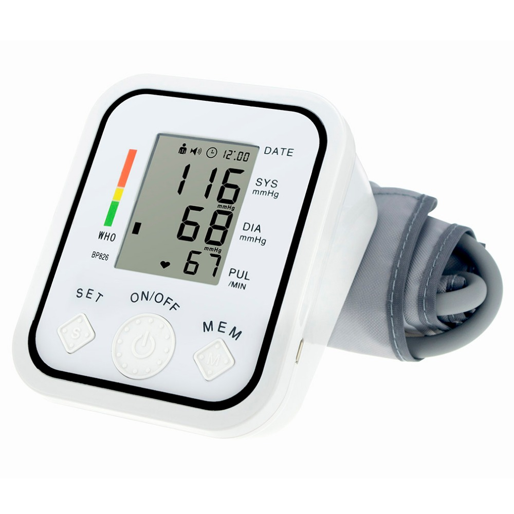 LCD Display Digital bp Arm Blood Pressure Monitor Measure Meter Sphygmomanometer Cuff NonVoice White pulse oximeter tonometer digital indoor air quality carbon dioxide meter temperature rh humidity twa stel display 99 points made in taiwan co2 monitor