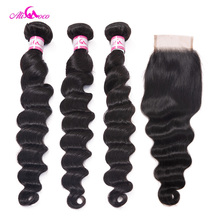 Ali Coco Brazilian Loose Deep Wave Bundles With Closure 8 30 Inch 3 Bundles With Closure Human Hair Extensions Remy Hair Bundles