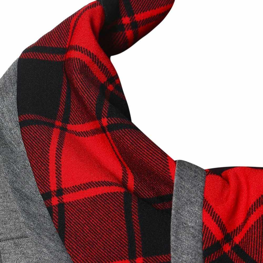 2019 nouveau chemisier femmes à manches longues irrégulière ourlet Plaid bouton col roulé Tartan tunique sweat-shirt pull #30