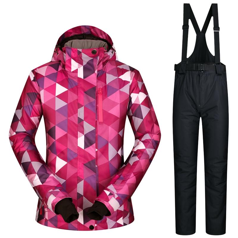MUTUSNOW Brand Women Ski Suit Snowboard Jacket Pant Windproof Waterproof Hooded Winter Clothing Trouser Outdoor Sport Wear Suit