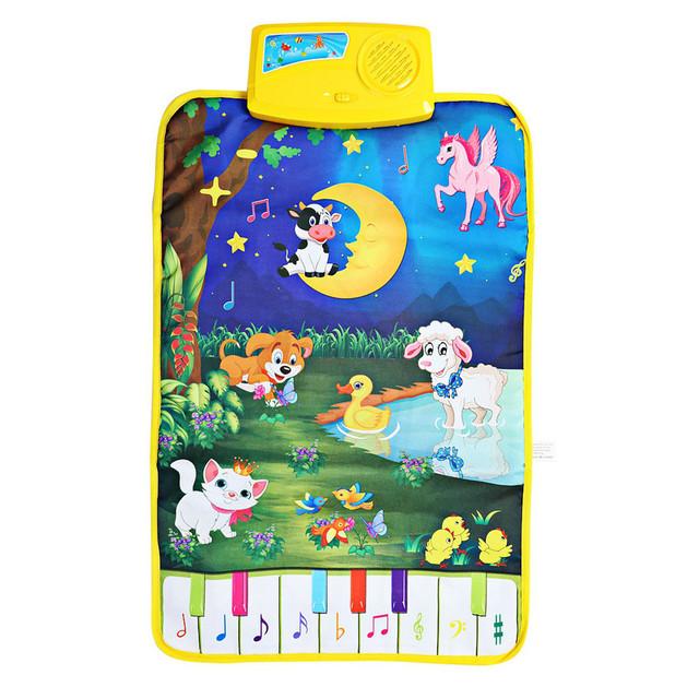 Moderno Dos Desenhos Animados Bonito Animal da Fazenda Musical Toque Jogar Ginásio Do Bebê Engatinhando Tapete Esteira do Jogo Language Learning Toy Presente Para Crianças