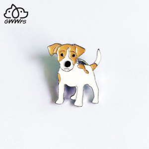Jack Russell Terrier Brooches For Women Metal Alloy Animal Pet Dog Brooch Pin Badge bag hat Jewelry Brooches For Kids Friends(China)