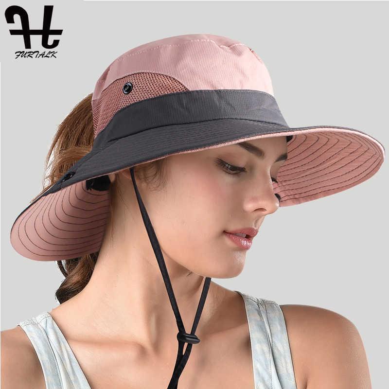 8a0ddf6f1e ... FURTALK Summer Sun Hat for Women Safari Hats Wide Brim UV Protection  Cap Beach Outdoor Ponytail ...