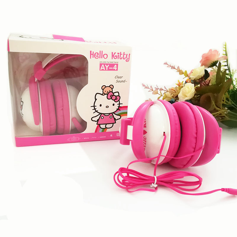 Fodabale Headphones cartoon Hello Kitty Kids lovely earphone for mobile phone music player stereo headset with MIC cartoon hello kitty headphones gifts to children 3 5mm headset earhook earphone for mp3 player computer mobiletelephone earphone