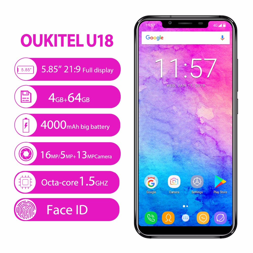 OUKITEL U18 5 85 21 9 Full screen Face ID Smartphone Android 7 0 MT6750T Octa