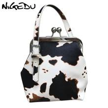 цена Luxury Brand Women's Handbag Mini Cute Cow Messenger Bag For Girls Clip Shoulder Bag PU leather Female Phone Purse Bolsas wallet в интернет-магазинах