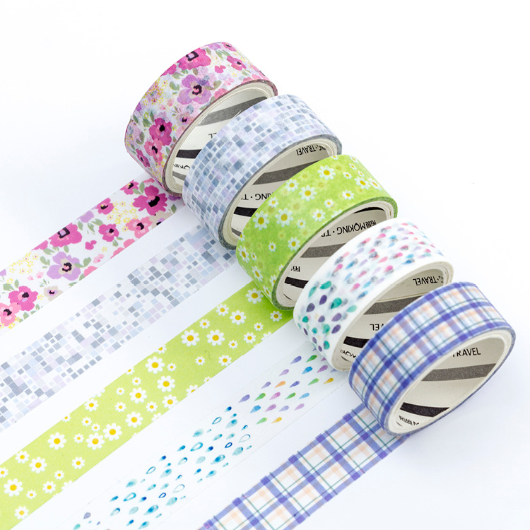 2 Pcs/pack 1.5 Cm Wide Drawing Story Flower Road Decorative Washi Tape DIY Scrapbooking Masking Craft Tape School Office Supply