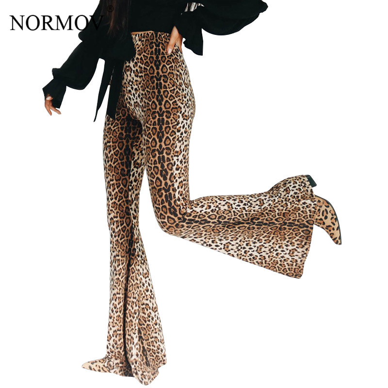 NORMOV Fashion Causal Sexy Ladies Fall Women High Waist Leopard Print   Pants   Casual Wide Leg Flare Trouse Long   Pants     Capris