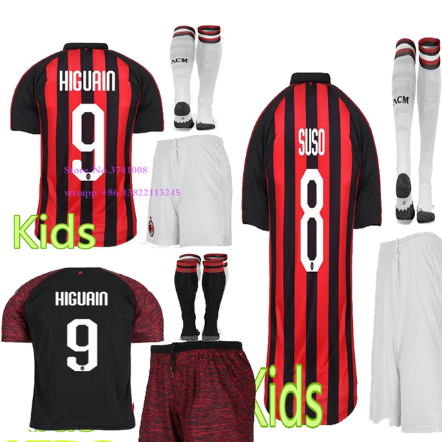 2018 kids T-shirt AC shirt 2019 children shirts Top Quality child young kits Higuain  Casual Milanes shirt free shipping