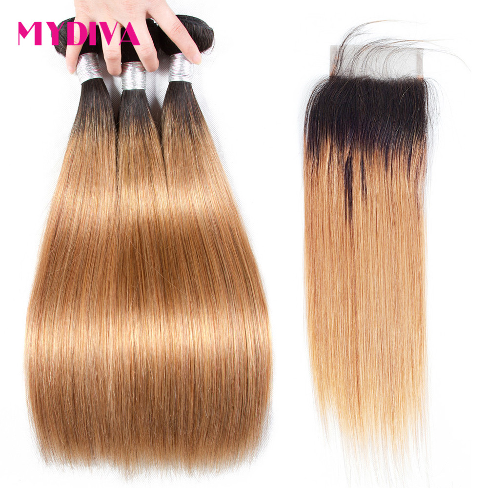 Blonde Human Hair Bundles With Closure 3 Bundles With Lace Closure Dark Roots T1B 27 Ombre