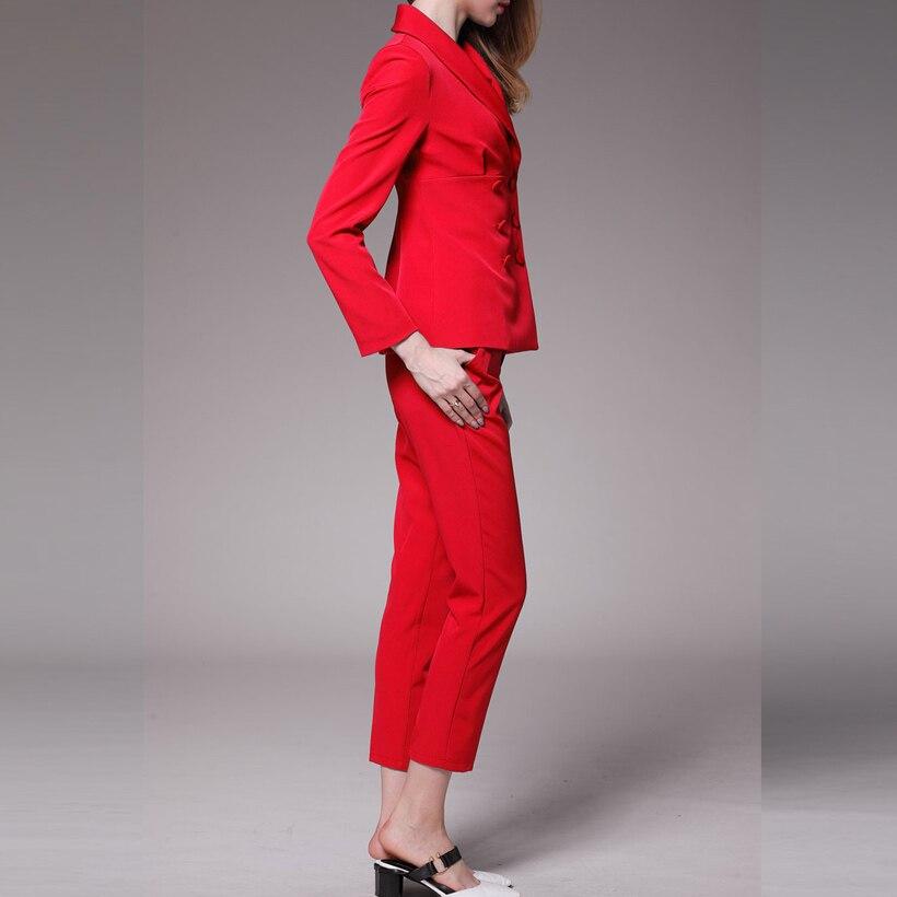 Ellacey Novo Escritório Senhora 2 Peças Conjunto Profissional Terno das Mulheres Blazer Calças Uniforme Vermelho Azul Formal Negócios Pant Ternos - 3