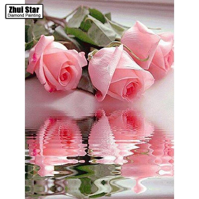 The water rose pink picture home decor 5ddiy diamond Painting diamond mosaic gift cross stitch Full diamond embroidery LX