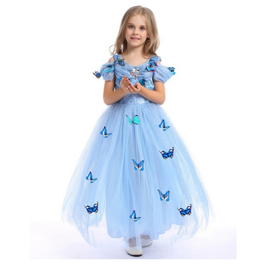 Kids Dresses For Girls Princess Cinderella Dress Baby 3D-butterfly Costume Children Clothes