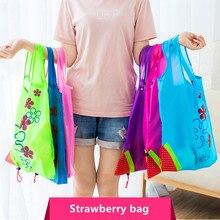 4465f223f44 Hot Creative environmental storage bag Handbag Strawberry Foldable Shopping  Bags Reusable Folding Grocery Nylon eco tote