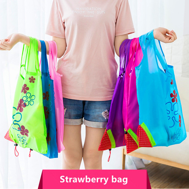 d4facd8bcaa Hot Creative environmental storage bag Handbag Strawberry Foldable Shopping  Bags Reusable Folding Grocery Nylon eco tote Bag