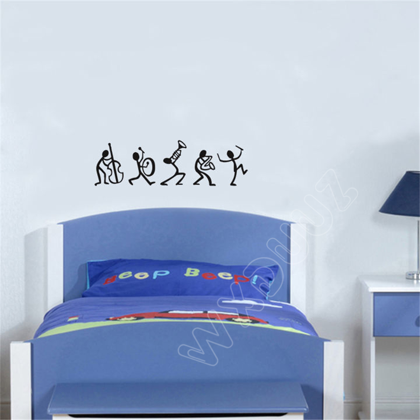 Us 1 99 Wxduuz Music Stick Men Living Room Dining Bedroom Decal Wall Art Sticker Picture Nursery Kids Decor P10 In