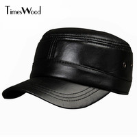 [TIMESWOOD] Brand Genuine Leather Military Hats Mens Women Black Plain Solid Color Caps Breathable Casual Flat Hat Adjustable