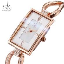 Shengke mujeres relojes rectangular dial diamante reloj pulsera caja de la aleación de cuarzo de la manera impermeable femenina reloj de la mujer