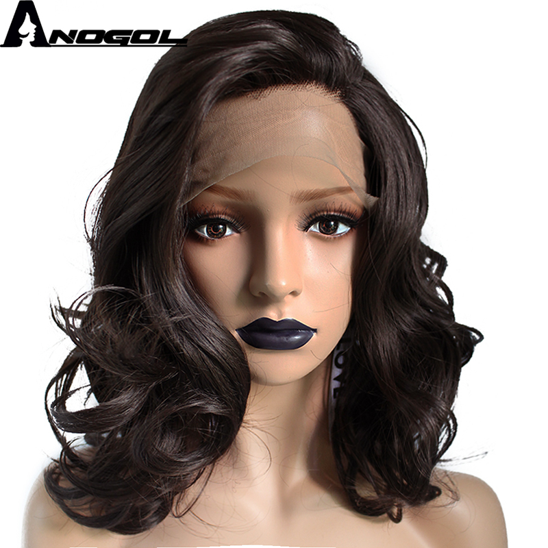 Anogol Free Part High Temperature Fiber Natural Short Body Wave Medium Length Dark Brown Synthetic Lace