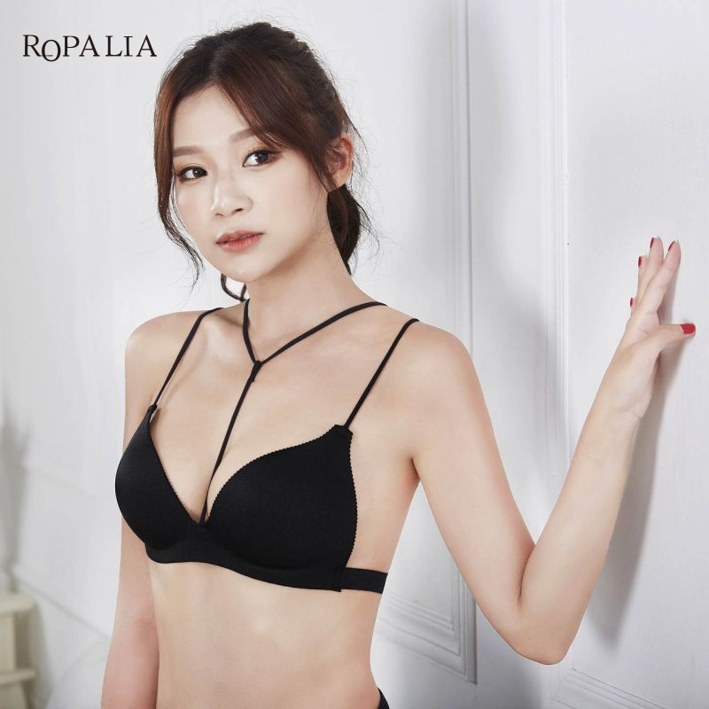 ROPALIA Women Lingerie Push Up Bra Seamless Halter No Rims Cozy Straps Bra High Quality Underwear For Beach B/C Cup