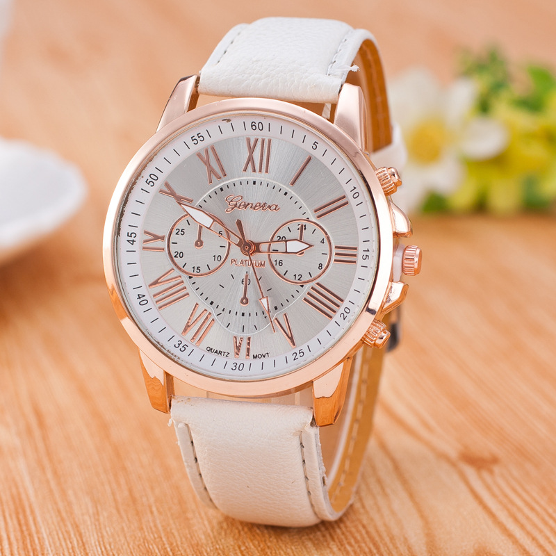 Genuine Women's Roman Numerals Watches Women Clock Luxury Fashion Leather Band Analog Quartz Round Wrist Watches Montre Femme