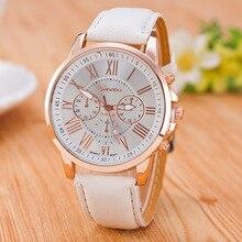 Relojes con números romanos para mujeres genuinos reloj de mujer de lujo de moda de cuero banda analógica de cuarzo relojes de pulsera redondos Montre Femme