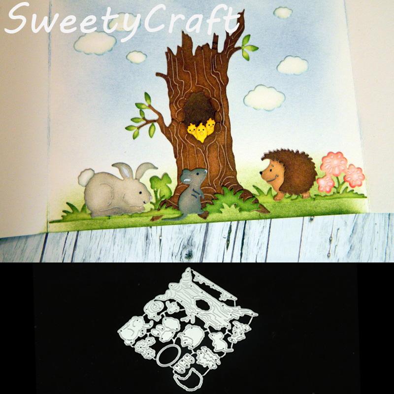 Metal Cutting <font><b>Dies</b></font> Tree Hole Rabbit <font><b>Dies</b></font> Scrapbooking New 2018 <font><b>Stamps</b></font> Craft <font><b>Halloween</b></font> <font><b>Die</b></font> Cut Embossing Card Making Background image