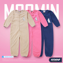 Moomin 2018 Spring fleece overall indoor moomin fleece romper long sleeve pink blue cartoon fleece romer infant romper zipper(China)