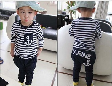 Hot Sale 2017 Spring Kids Clothes sets Long Sleeve stripe cotton t-shirt+trousers Casual Navy anchor Boys Sports Suit clothing