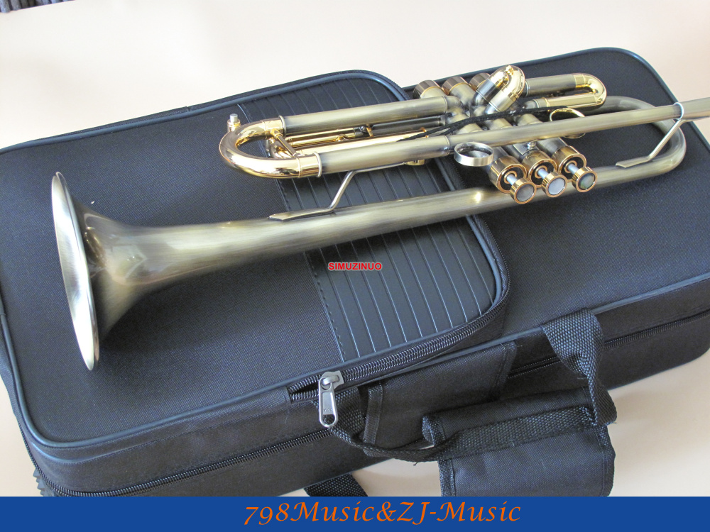 2018 NEW Antique Finish Trumpet B-flat Monel Valves With Case Mouth Professional Trumpet professional silver gold plated marching french horn bb monel valves with case