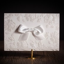 New Wedding Invitations Card With Embossed Flower Ribbon Bow Customized for Marriage Engagement Birthday Party Supplies