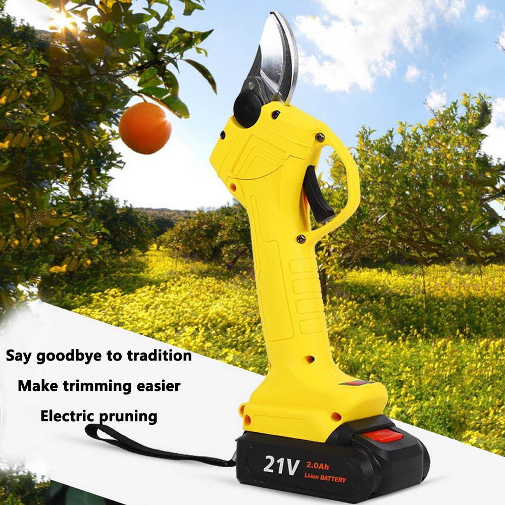 16.8V Electric Pruning Scissors With 2 Battery Fruit Tree 2.5mm Pruner Garden Shears Electric Fruit Branch Shear