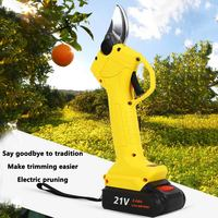 21V Electric Pruning Scissors with 2 Battery Fruit Tree 3mm Pruner Garden Tool Shears Electric Fruit Branch Cutter Orchard Shear