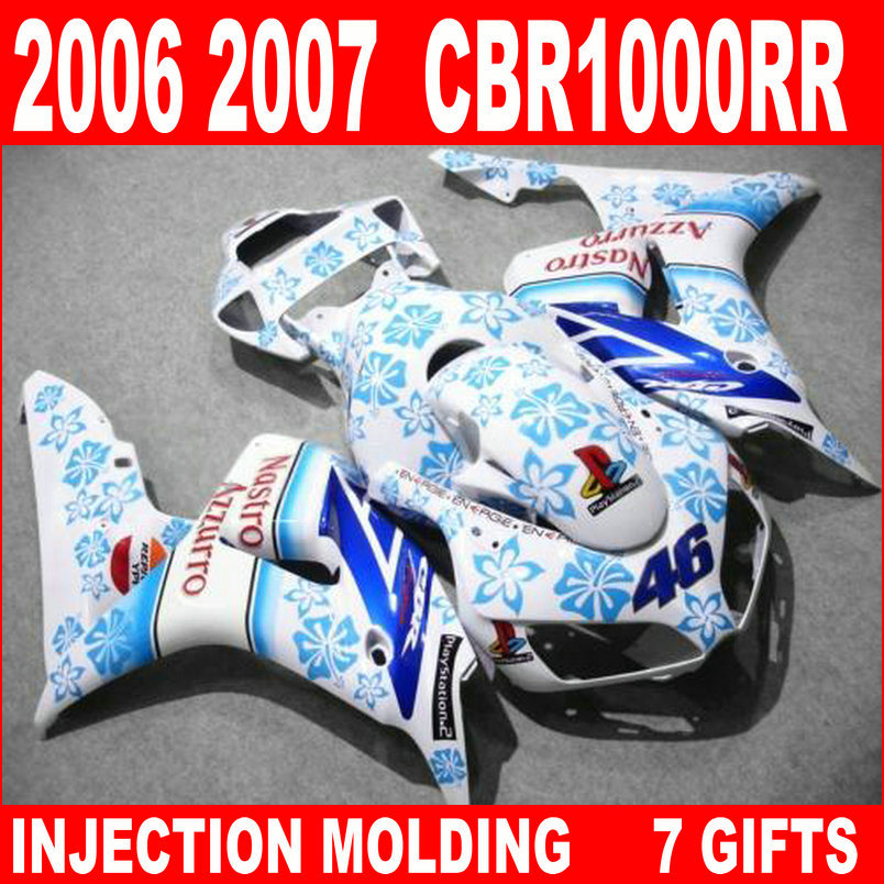 New hot moto parts fairing kit for Honda CBR1000RR 06 07 white blue injection mold fairings set CBR1000RR 2006 2007 RA14