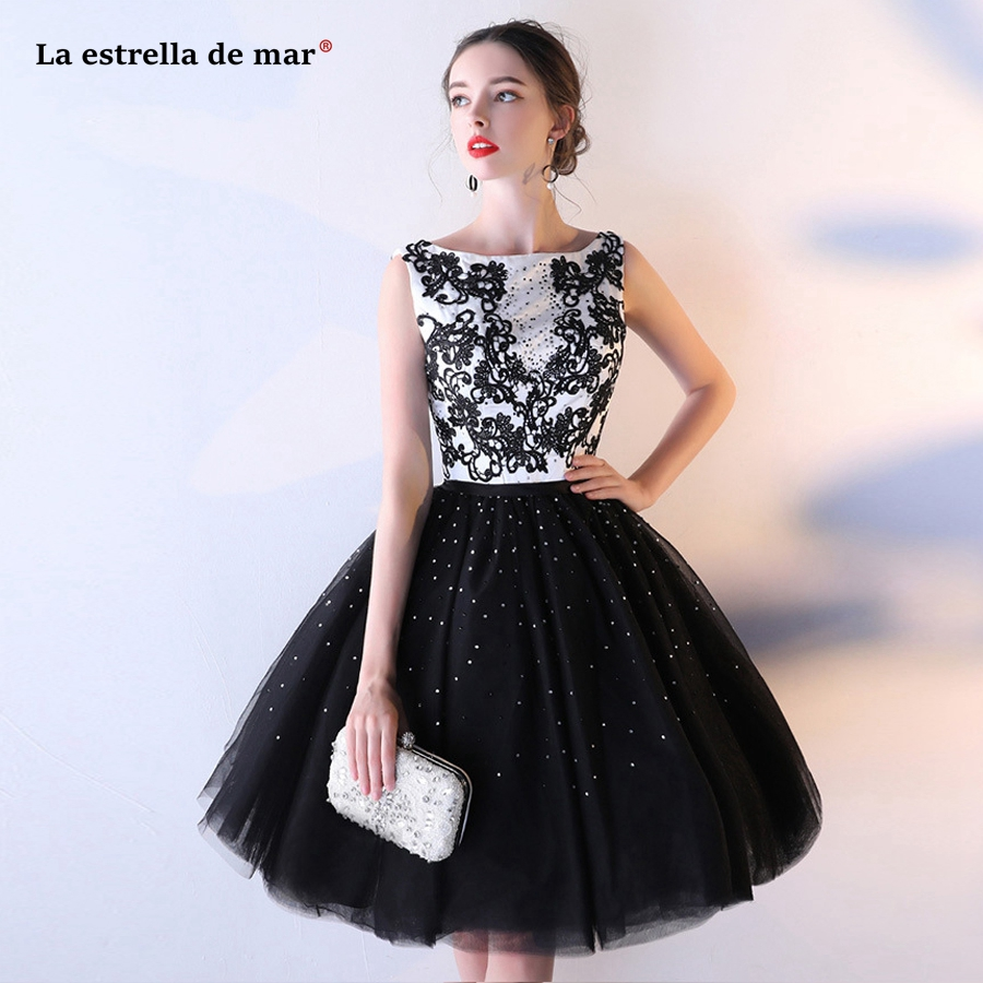 Vestido coctel 2019 tulle applique crystal fluffy black   cocktail     dress   short plus size robe de   cocktail   au genou hot prom gown