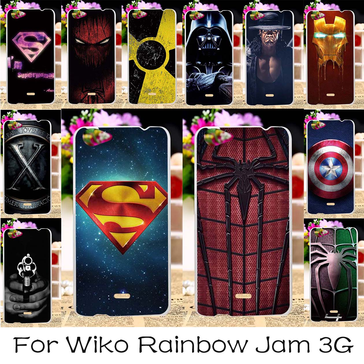 AKABEILA Soft TPU Hard Plastic Painted Case For Wiko Rainbow Jam 3G 5.0 inch Case Back Cover Housings pider-Man Superman Hood ...