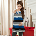 Long Sleeve Pregnancy Tops Lace Peter Pan Collar Cotton  Blouses for Pregnancy Striped Blouses Clothes for Pregnant Women