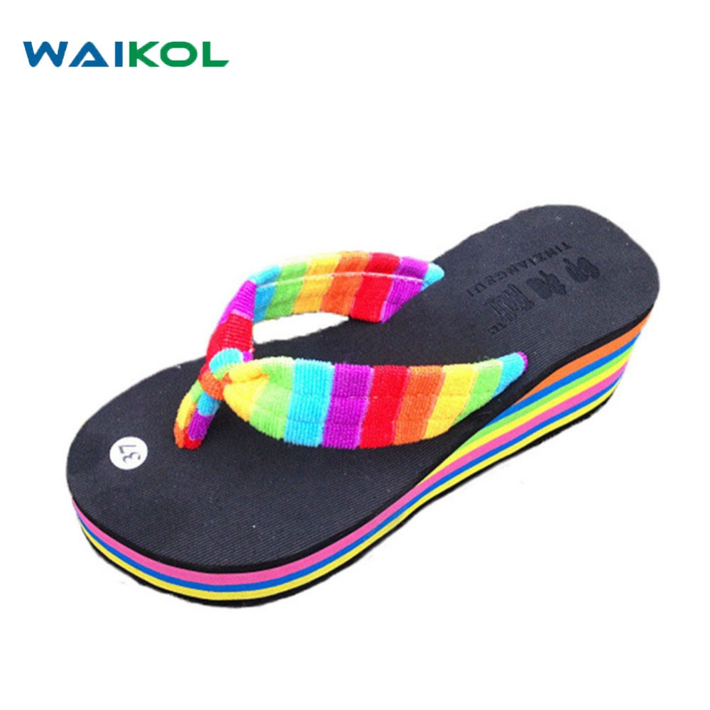 Waikol New women summer heavy-bottomed sandals Ladies beach slippers wedges shoes platform candy color casual shoes wholesale waikol new women summer heavy bottomed sandals ladies beach slippers wedges shoes platform candy color casual shoes wholesale
