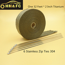 HM & FC Титановая Выхлопная Ленты 2 Дюймов х 32 Футов Коллектор Wrap Лавы Fiber Теплоэнергии Wrap + 6 шт. Связей