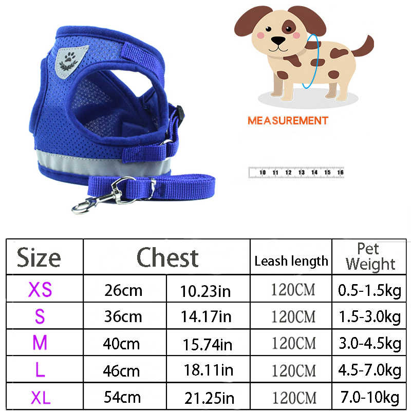 Reflektif Keselamatan Anjing Peliharaan Harness dan Tali Set untuk Kecil Medium Anjing Kucing Memanfaatkan Rompi Anak Anjing Tali Pengikat Dada Hewan Peliharaan Aksesoris