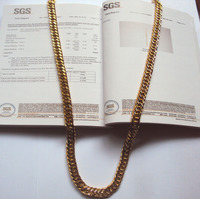 OURO BILATERAL AUTHENTIC 14 K SOLID GOLD FILLED CHAIN link CUBANO COLAR DOS HOMENS SZ 24
