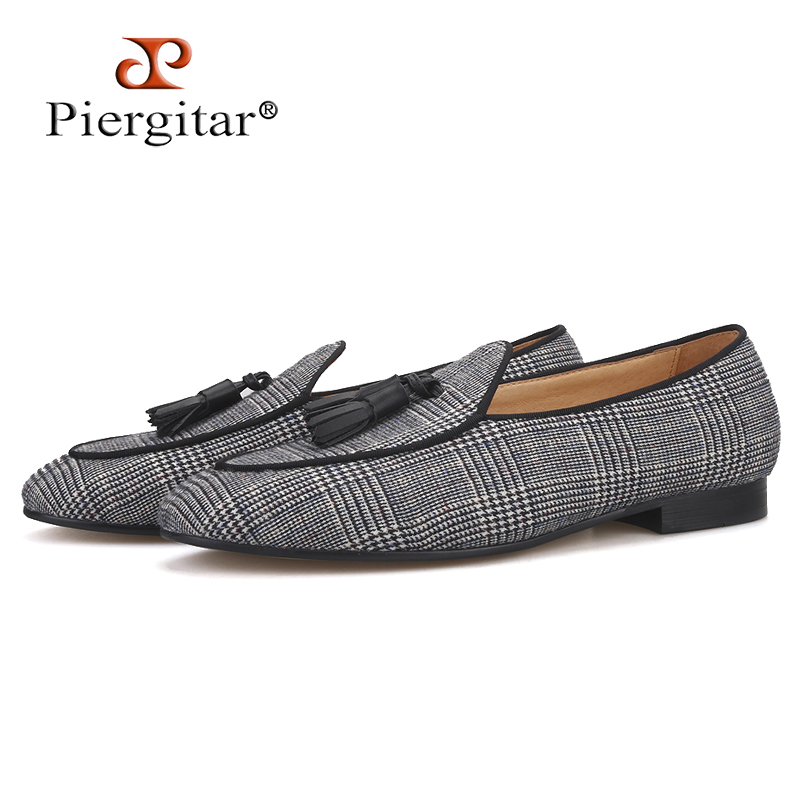 Piergitar 2019 gray color gingham cotton men s loafers with tassel Fashion Men Casual Shoes party