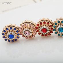 Broches de flores con diamantes de imitación para XT58 6pcs, Pin para bufanda, hebilla de Metal, complemento de cabeza para musulmanes, Abaya, Khimar