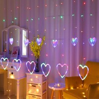 LED Icicle String Curtain Light Heart LED Lights Icicle Light Festival LED For Wedding Christmas Curtain Decoration
