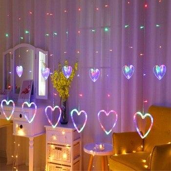 Guirlande LED chaîne rideau lumière coeur LED lumières glaçon lumière  Festival LED pour mariage noël ...