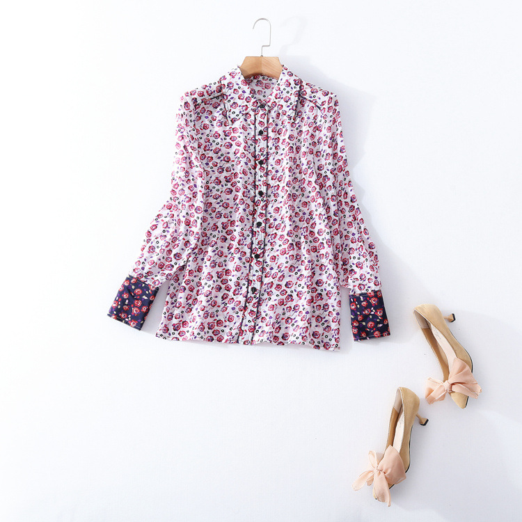 Здесь продается  High quality silk print shirt 2018 new brand runway women sprint summer shirt fashion office lady single breasted blouse  Одежда и аксессуары